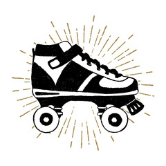 Hand drawn 90s themed icon with roller skates vector illustration.