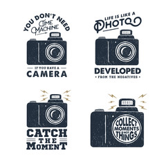 Hand drawn set of labels with photo camera vector illustration and inspirational lettering.