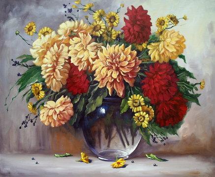 oil paintings still life, flowers