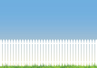 white picket fence with lots of space for copy