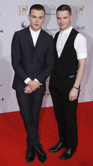 Hutchcraft and Anderson of Hurts arrive for 62nd Bambi media awards ceremony in Potsdam