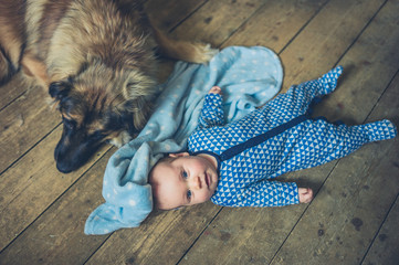 Baby and dog on floor