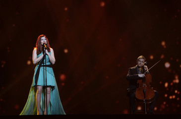 """Pernilla of Finland performs her song """"Nar Jag Blundar"""" during a rehearsal for the finals of the Eurovison Song Contest in Baku"""