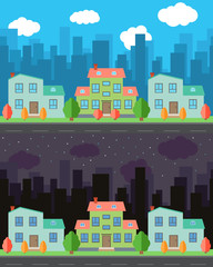 Vector city with cartoon houses and buildings in the day and night.Summer urban landscape. Street view with cityscape on a background