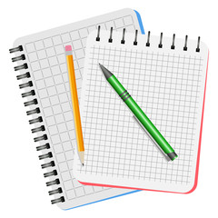 Two notebooks, green pen and yellow pencil on a white background