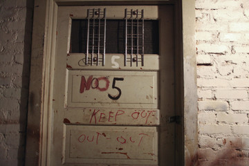 Most of the doors in the basement of the Gadsden Hotel are labelled for staff and guests who are visiting or ghost hunting inside the hotel in Douglas