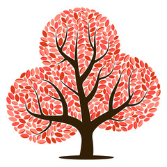 Vector tree with red leaves isolated on a white background