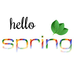 Colorful phrase Hello Spring with green leaves. Vector illustration.