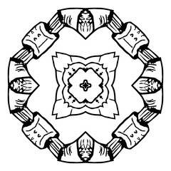 Mirror element for coloring book. Black and white mandala