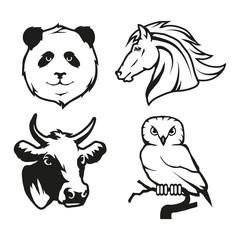 Set of four black  logo silhouettes of panda and vector image of horse with owl and cow, illustration isolated on white background, Wild and domestic animals