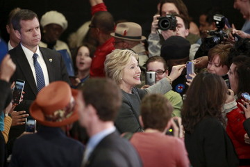 """U.S. Democratic presidential candidate Hillary Clinton greets attendees before hosting the """"Women For Hillary"""" Town Hall event in Brooklyn, New York"""