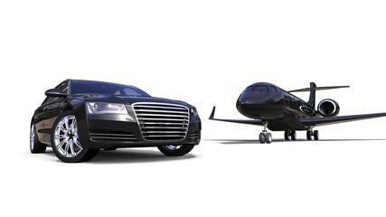 High Class transportation / 3D render image representing an high class car with a black jet plane