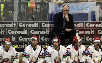 Head coach Lewis of Belarus reacts during their Ice Hockey World Championship quarterfinal game against Canada at the O2 arena in Prague
