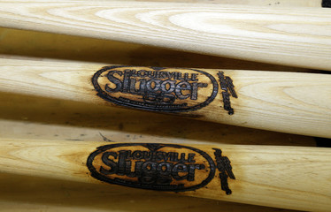 Hillerich & Bradsby's Louisville Slugger launches a new logo after 33 years on all their new baseball bats for the upcoming season at the Louisville Slugger plant
