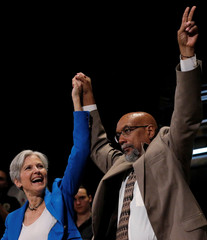 Green Party presidential candidate Jill Stein and her running mate Ajamu Baraka attend a campaign rally in Chicago