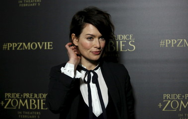 """Cast member Headey poses at the premiere of """"Pride and Prejudice and Zombies"""" in Los Angeles"""
