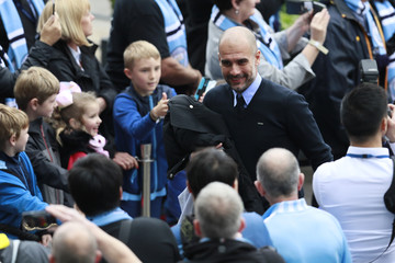 Manchester City manager Pep Guardiola arrives for the match