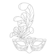 Isolated black outline monochrome ornate decorative venetian mask on white background. Ornament of curve lines.