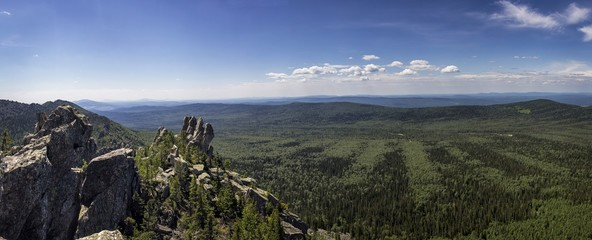 Panoramic view of the mountains and cliffs, South Ural. Summer in the mountains.View from the mountains.