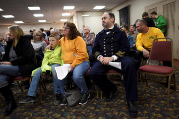 Brad Stone, 59, dresses as a Civil War Naval fleet surgeon while attending an auction of the Hall of Presidents Museum, which closed in November, in Gettysburg, Pennsylvania