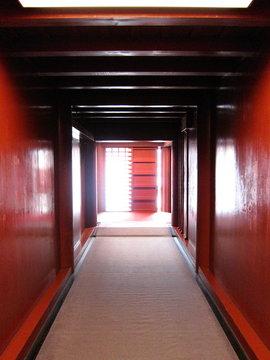 Red wall corridor at Shuri castle in Okinawa, Japan
