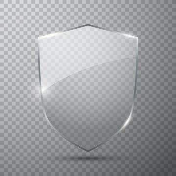 Transparent glass shield, vector illustration