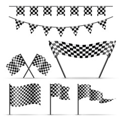 Acrylic Prints F1 Set of sport checkered flags on white background