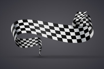 Black and white checkered flag or banner