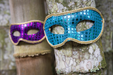 Carnival masks in glittery blue and purple hang on tropical bamboo trunks in Rio de Janeiro, Brazil