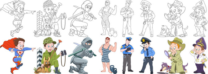 Cartoon working people set. Collection of professions. Superman, military soldier with guard dog, ninja, athlete (bodybuilder), police officer (cop), detective, sailor. Coloring book pages for kids.