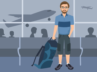 man with backpack at airport