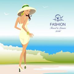 Beautiful stylish woman walking along beach. Vector Illustration