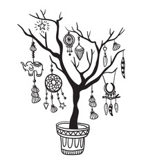 Tree with boho decoration. Isolated on the white background. Vector illustration in tribal style.