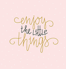 Hand lettered inspirational quote. Modern calligraphy on pink background. Scandinavian style illustration, modern home decor. Vector print design with lettering - 'Enjoy the little things'.