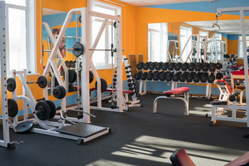 Modern fitness gym with exercise machines