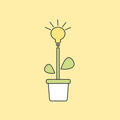 light bulb plant in a pot vector concept illustration