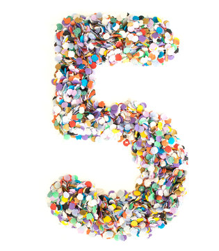 Confetti alphabet - number 5 five