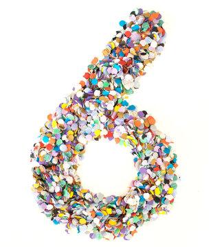 Confetti alphabet - number 6 - six