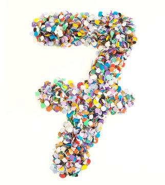 Confetti alphabet - number 7 - seven