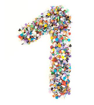 Confetti alphabet - number 1 - one