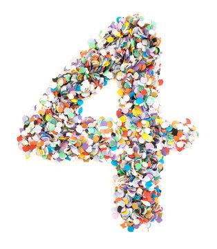 Confetti alphabet - number 4 - four