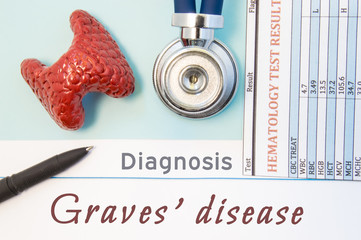 Endocrinology diagnosis Graves' disease. Figure of thyroid gland, result of laboratory analysis of blood medical stethoscope and black pen lying near text inscriptions Graves disease doctor workplace