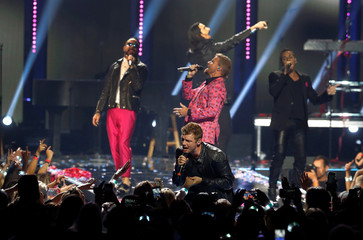 The Backstreet Boys perform during the iHeartRadio Music Festival at The T-Mobile Arena in Las Vegas,