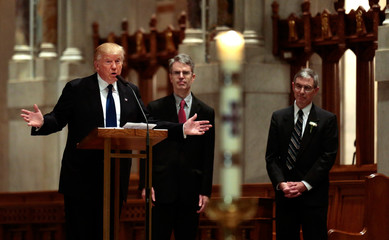 Donald Trump speaks before the funeral for Eagle Forum founder Phyllis Schlafly at Cathedral Basilica of St. Louis in St. Louis