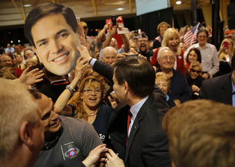 Republican U.S. presidential candidate Senator Marco Rubio reacts to the Super Tuesday primary and caucus voting results at a campaign rally in Miam