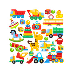 A set of children's toys arranged in the shape of a rectangle. Vector illustration.