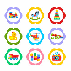 Vector icons, stickers. The set of elements of children's toys. Including a locomotive, rocking horse, pyramid, gun, duck, dump truck, helicopter, bricks.