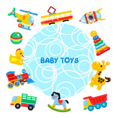 Vector illustration of toys arranged in a circle. Including helicopter, ball, duck, tram, locomotive, truck, dump truck, rocking horse, giraffe, pyramid, rocket.
