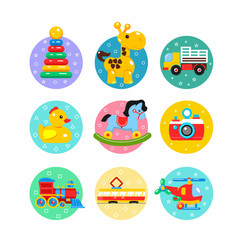 Children's toys. Colorful logos, stickers. Vector badges. Including truck, pyramid, duck, tram, rocking horse, a helicopter, a camera, a locomotive.