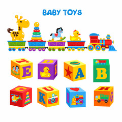 Set of vector children's toys. A set of cubes with colorful pictures and the alphabet. The train carries the toys, including a giraffe, duck, horse, pyramid.